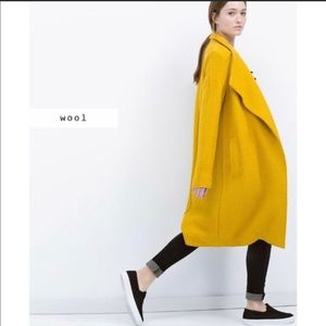 Zara wool mustard oversize coat, new with out tag